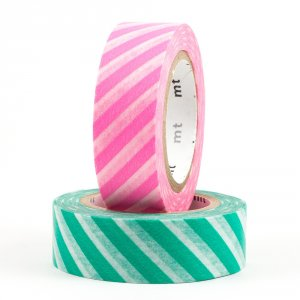Duo Masking tape / Rayure rose et verte (stripe/pink×green)