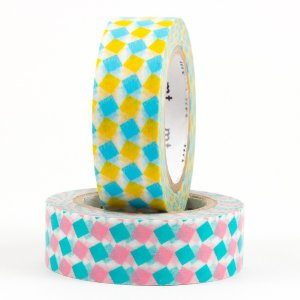 Duo Masking tape - Carrés (square / yellow×pink)