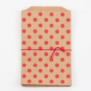 Sachets kraft Middy - Pois rouges (lot de 10)