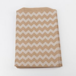 Sachets kraft Middy - Chevron blanc (lot de 10)