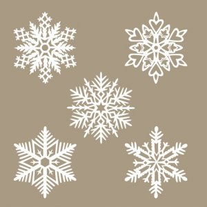 Set de 5 flocons de neige en papier washi - 4301