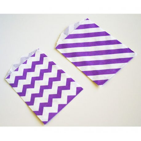 Sachets Papier Small - Chevrons Violet (lot de 10)