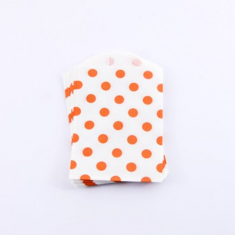 lot de 10 Sachets Papier Small - Pois Orange