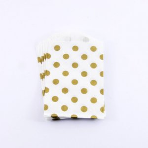 Sachets papier Small - Pois Or (lot de 10)