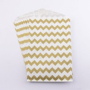 Sachets papier Medium - Chevron Or (lot de 10)