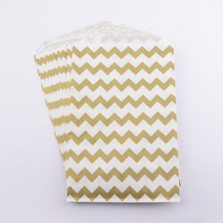 Sachets papier Middy - Chevron Or (lot de 10)