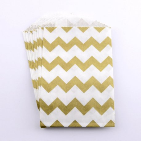 Sachets papier Small - Chevron Or (lot de 10)