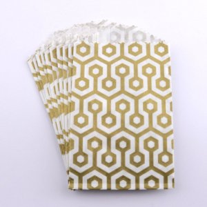 Sachets papier Small - Nid d'abeilles Or (lot de 10)