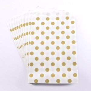 Sachets Papier Medium - Pois Or (lot de 10)