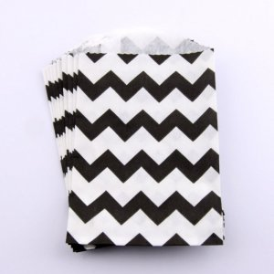 Sachets Papier Small - Chevrons Noir (lot de 10)