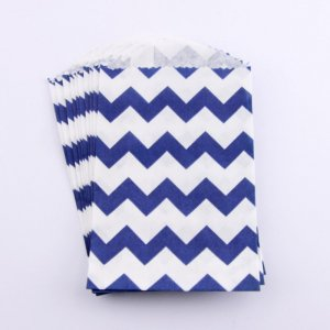 Sachets Papier Small - Chevrons Navy (lot de 10)