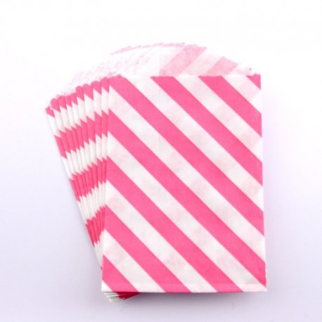 Sachets papier Small - Diagonales roses (lot de 10)