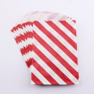 Sachets papier Small - Diagonale Rouge (lot de 10)