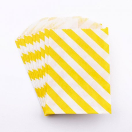 Sachets papier Small - Diagonale Jaune (lot de 10)