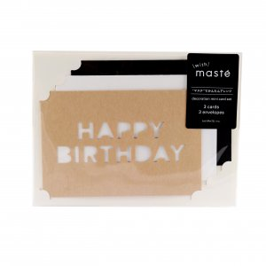 Set 3 cartes message - Happy Birthday