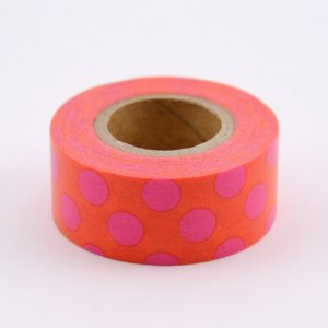 Masking tape masté - Orange points roses