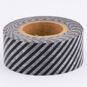Masking Tape Masté - Noir rayures blanches
