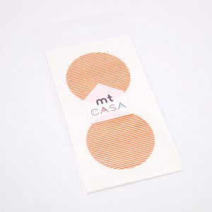MT CASA Sticker rond - Lignes Orange  - 10 pcs