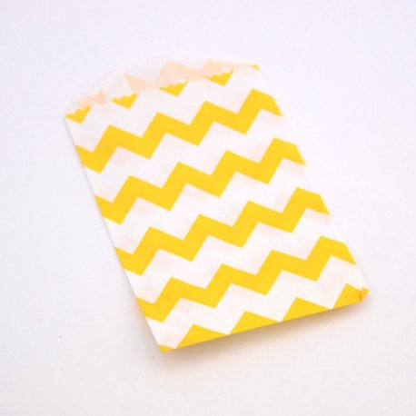 Sachets Papier Small - Chevrons Jaune (lot de 10)