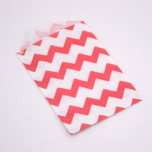 Sachets Papier Small - Chevrons Rouge (lot de 10)