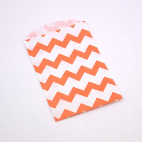 Sachets Papier Small - Chevrons Orange (lot de 10)