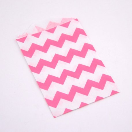 Sachets Papier Small - Chevrons Rose (lot de 10)