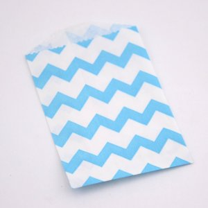 Sachets Papier Small - Chevrons Aqua (lot de 10)