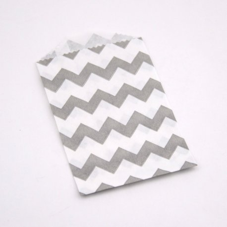 Sachets Papier Small - Chevrons Gris (lot de 10)