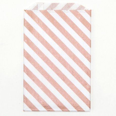 Sachets papier Medium - Diagonales rose doré (lot de 10)