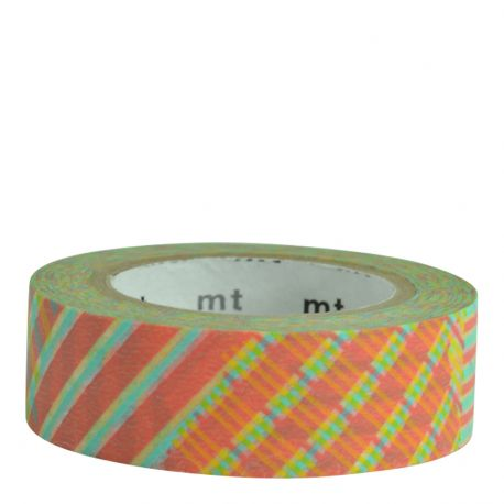 Masking tape / Rayures jaunes et rouges (stripe-checked red)