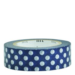 Masking tape / pois blancs fond bleu / dot blue base