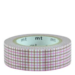 Masking tape / quadrillé rose & marron / hougan pink x brown